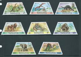 Tanzania 1988 Native & Prehistoric Animals Set Of 8 FU - Tanzania (1964-...)