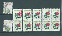 Tanzania 1997 150 & 400 Shilling Flower Definitives Singles Pairs And Block Selection FU - Tanzania (1964-...)