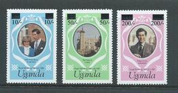Uganda 1981 Overprints On Charles & Diana Royal Wedding Set 3 MNH - Uganda (1962-...)