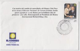 Uruguay FDC Visita PRESIDENT ROTARY INTERNATIONAL 2001 - Rotary, Club Leones