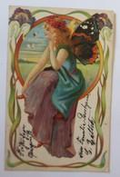 Pfingsten, Elfe, Fee, Blumen, Schmetterlingsflügel, Jugendstil,  1902 ♥ (42521) - Pentecôte