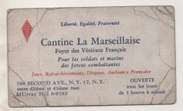 CARTON PUBLICITAIRE ANCIEN CANTINE LA MARSEILLAISE ( POUR SOLDATS ) CROIX DE LORRAINE - VOIR LE SCANNER - Documents
