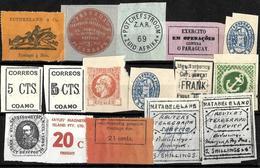 720 - 1900- - WW SMALL SELECTION OF LOCALS, LABELS, FISCALS - FORGERIES, FALSES, FALSCHEN, FAKES, FALSOS - Briefmarken
