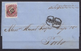 Portugal - L. Datée 17 Sept 1858 De LISBOA Affr. 25r Non-dent. Obl. 52 Càd Rect. [PORTO /18 9 1858] Pour PORTO Par Vapeu - 1855-1858 : D.Pedro V