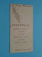 HUWELIJK Van Madeleine BELON & Marcel DAMAN > 22 Aug 1939 Dendermonde ( Voir / Zie Foto's Voor Detail ) Pierre WAUMANS ! - Menus