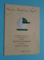 HUWELIJK Van Lea Van OVERSTRAETEN & Paul Van GAEVER > 20 Juni 1939 Brussel ( Voir / Zie Foto's Voor Detail ) VEYT ! - Menus