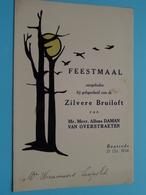 ZILVERE Bruiloft Alfons DAMAN - Van OVERSTRAETEN Baasrode 21 Oct 1934 ( Voir / Zie Foto's Voor Detail ) Waumans ! - Menus