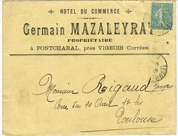 ENVELOPPE  A EN-TETE HOTEL DU COMMERCE GERMAIN MAZALEYRAT PONTCHARAL CORREZE - 1877-1920: Période Semi Moderne