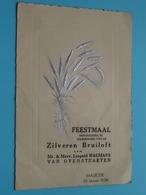 ZILVEREN Bruiloft Van Leopold WAUMANS - Van OVERSTRAETEN > BAASRODE 30 Jan 1938 ( Voir / Zie Foto's Voor Detail ) VEYT ! - Menus