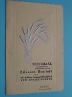 ZILVEREN Bruiloft Van Leopold WAUMANS - Van OVERSTRAETEN > BAASRODE 30 Jan 1938 ( Zie Foto's Voor Detail ) Van GAEVER ! - Menus