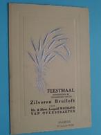 ZILVEREN Bruiloft Van Leopold WAUMANS - Van OVERSTRAETEN > BAASRODE 30 Jan 1938 ( Zie Foto's Voor Detail ) ! - Menus