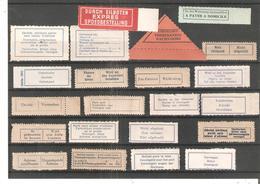 22 Etiquettes Postales Diverses TRILINGUES Et ALLEMAND-FRANCAIS - Documents De La Poste