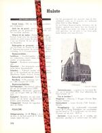 Gemeente Hulste - Org. Knipsel Uit Magazine 1958 - Geschiedenis - Folklore - Nijverheid - Handel + Landkaart - Old Paper