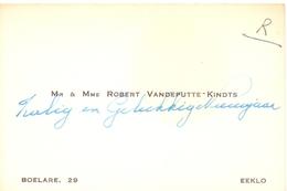Visitekaartje - Carte Visite - Mr & Mme Robert Vandeputte - Kindts - Eeklo - Cartes De Visite