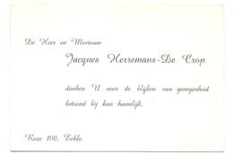 Visitekaartje - Carte Visite - Heer & Mevrouw Jacques Heremans - De Crop - Eeklo - Cartes De Visite