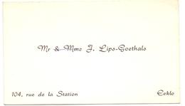 Visitekaartje - Carte Visite - Mr & Mme J. Lips - Goethals - Eeklo - Visiting Cards
