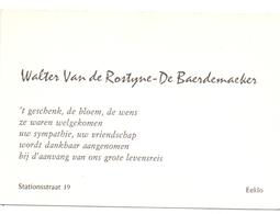 Visitekaartje - Carte Visite - Walter Van De Rostyne - De Baerdemaeker - Eeklo - Visiting Cards