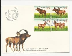 Cover FDC Angola WWF Protecção Da Natureza Malange 1990 - Angola