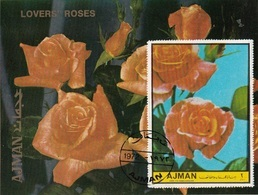 Ajman 1972 Fiori Da Giardino Rose  Lovers' Roses Flowers Sheet Imperf. - Ajman