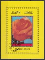 Ajman 1972 Mi. Bf.  Flowers Fiori Rosa Orange Roses Sheet Perf. Nuovo CTO. Rose - Ajman