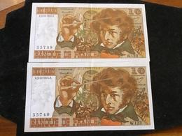 2 Billet Qui Se Suis De 10 Francs 3-10-1974 W123 - 1962-1997 ''Francs''