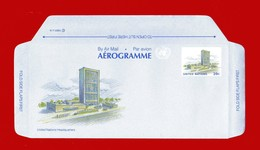 (Riz.1) Nazioni Unite -  NEW YORK - AEROGRAMME - 1989 - HEADQUARTERS. - FDC