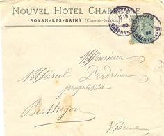 NOUVEL HOTEL CHARREYRE ROYAN-LES-BAINS (CHARENTE-INFÉRIEURE) TàD 15-8-05 +verso POITIERS VIENNE 15-8-05 Jour Férié - Postmark Collection (Covers)