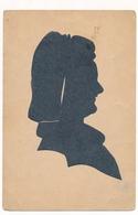 Silhouette Woman Femme Original Vintage Hand Made Silouette Siluette  Old Card - Silhouetkaarten