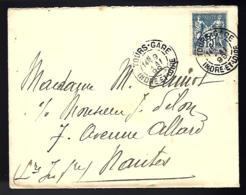 LETTRE EN PROVENANCE DE TOURS.GARE - INDRE ET LOIRE - 1899 - POUR NANTES - - 1898-1900 Sage (Type III)