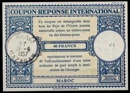 MAROC / MOROCCO Lo16n 40FRANCSInternationalReply Coupon Reponse AntwortscheinIAS IRC O MAZAGAN 31.6.57 - Marokko (1956-...)