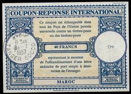 MAROC / MOROCCO Lo16n 40FRANCSInternationalReply Coupon Reponse AntwortscheinIAS IRC O TANGER SOCCO 8.7.57 - Marokko (1956-...)
