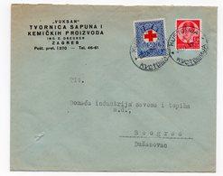 1938 YUGOSLAVIA, CROATIA, KUSTOSIJA, ZAGREB TO BELGRADE, VUKSAN, COMPANY LETTERHEAD COVER, RED CROSS STAMP - Covers & Documents