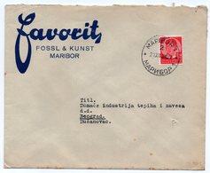 1938 YUGOSLAVIA, SLOVENIA, MARIBOR TO BELGRADE, FAVORIT, COMPANY LETTERHEAD COVER - 1931-1941 Kingdom Of Yugoslavia