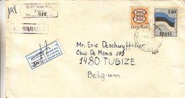 Estonie - Lettre Recom De 1991 - Oblit Tartu - Armoiries - Drapeaux - - Estonia
