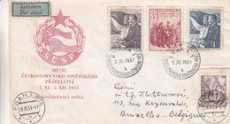 Tchècoslovaquie - Lettre De 1951 - Oblit Praha - Exp Vers Bruxelles - Stalin - Lénin - Avions - Tchécoslovaquie