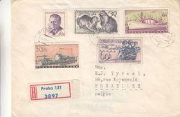 Tchècoslovaquie - Lettre Recom De 1960 - Oblit Praha - Bateaux - Soldats - Fusils - Marmottes - Cecoslovacchia