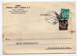 1937 YUGOSLAVIA, CROATIA, ZAGREB, GRACANICA, BOSNIA, CORRESPONDENCE CARD, NASICKA, TANNERY - Covers & Documents