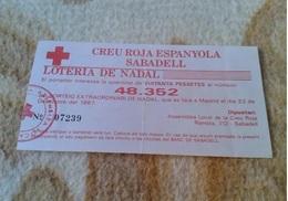 PARTICIPACIÓN DE LOTERÍA NAVIDAD 1987 LA CREU CRUZ ROJA ESPANYOLA SABADELL RED CROSS SPAIN CROIX ROUGE LOTERIE LOTTERY - Billetes De Lotería