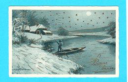PAYSAGE Illustr. BERTIGLIA Bonne Année - Neige Et Barque - Carte Bleue - Circulée En 1933 - Bertiglia, A.
