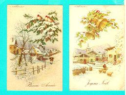 2 CP PAYSAGES Joyeux Noël / Bonne Année Illustr. BERTIGLIA - Circulées - Bertiglia, A.