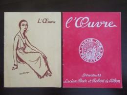 2 Programmes Du Théâtre De L'Oeuvre - 1949 Et 1953 - + Un Ticket De Loterie Novembre 1949 - Programmes