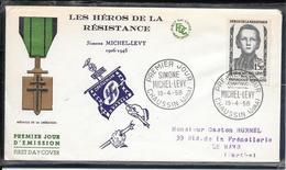 FDC 1958 - 1159  Héros De La Résistance: Simone MICHEL-LEVY - FDC