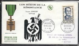 FDC 1958 - 1160  Héros De La Résistance: Jacques BINGEN - FDC