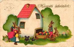 Easter, Bunnies With An Egg House, Old Postcard - Pâques