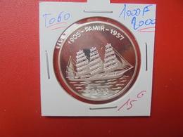"TOGO ""BATEAU"" 1000 FRANCS 2000 ARGENT SUP/FDC (A.9) - Togo"