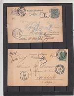 Lot De 2 Cartes   Taxé En Belgique  Sur Entier Postal  Allemagne   En 1892 - Belgium