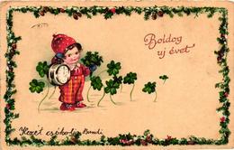 Mushroom, Boy In A Mushroom Hat With A Clock, Old Postcard - New Year