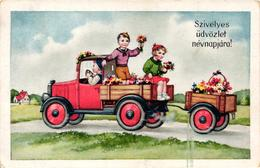 Children Travelling With A Truck, Old Postcard - Humorous Cards