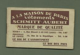 CALENDRIER DE POCHE CALEPIN 1940 NIORT FONTENAY LE COMTE A LA MAISON DE PARIS SCHMITT AUBERT - Klein Formaat: 1921-40