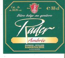 Etiquette De La Bière RADER Ambrée - RADERMACHER à RAEREN - Bière
